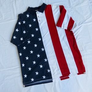 🔥🇺🇸👕 AMERICAN FLAG POLO SHIRT XLARGE